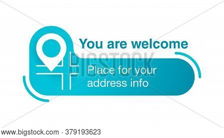Address Block Template For Website Or Banner - Creative Decorated Catchy Frame With Geo Location Pin