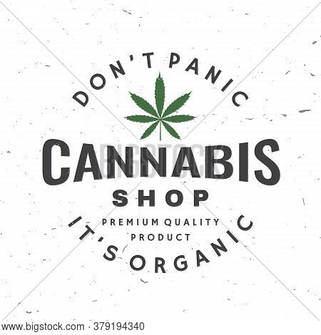 Medical Cannabis Badge, Label With Cannabis Leaf. Vector. Vintage Typography Logo Design With Cannab
