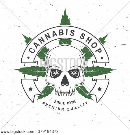 Medical Cannabis Shop Badge, Label With Skeleton Skull. Vector Illustration. Vintage Typography Logo