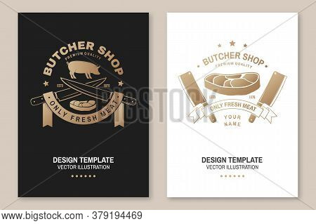 Butcher Meat Shop Badge Or Label With Pig, Pork, Steak And Kitchen Knife. Vector. Vintage Typography