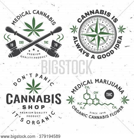 Set Of Medical Cannabis Badge, Label With Cannabis Leaf, Marijuana Pipe. Vector Vintage Typography L