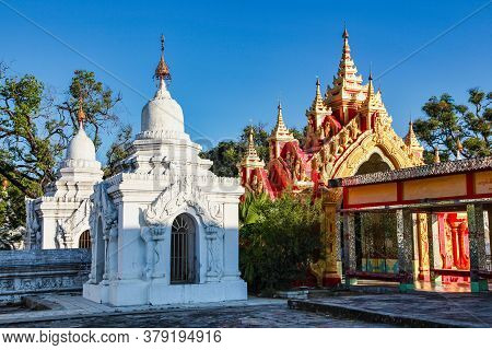 The White Stupa Temple Of Kuthodaw In Mandalay, Myanmar, Former Burma In Asia