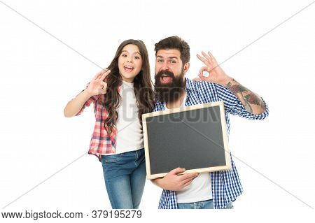 Family News. Awesome News. Advertising Or Promotion. Father And Daughter Hold Chalkboard Copy Space.