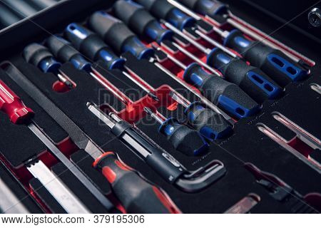 Set Of Tools For Car Repair In A Case, Close Up