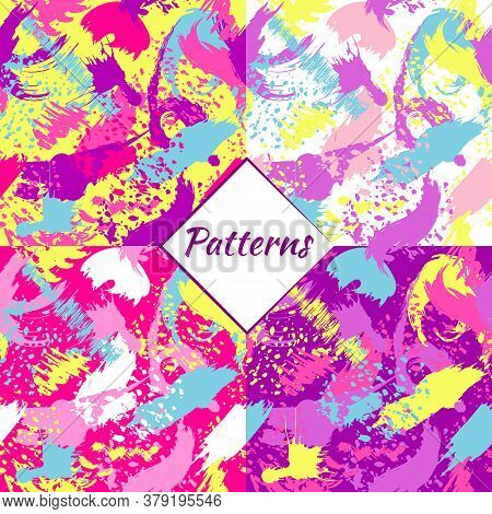 Simless Pattern Made From Random Lines, Blots, And Brush Strokes. Random Chaotic Lines And Spots.