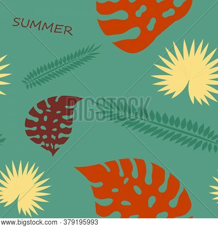Palm Leaves Seamless Pattern. Hawaiian Tropical Leaves On A Dark Background