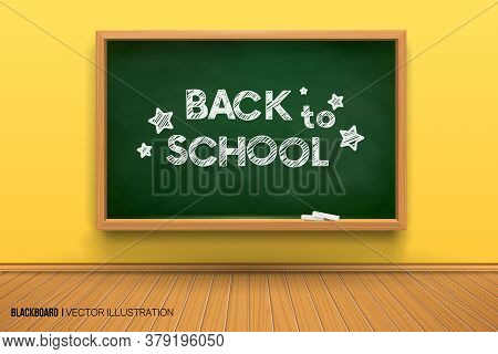 Room With A Blackboard On The Wall, Writing Desk.3d Board.chalk Inscription On A Blackboard. Back To
