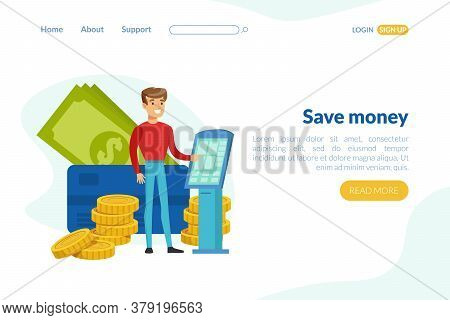 Save Money Landing Page Template, Investment, Financial Consultation Service Homepage, Website, Mobi