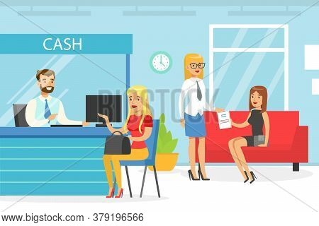 Bank Manager Servicing Female Client, Bank Interior With Cash Counter Desk And Cashier, Financial Ba