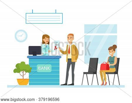 Bank Manager Consulting Customer In Office, Bank Interior With Counter Desk, Employee And Clients, B