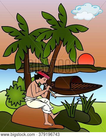 Graphical Presentation Of A Boy Playing The Flute Beside A River In The Evening. Vector Cartoon Illu