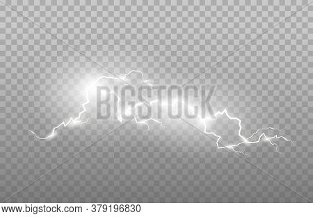 Realism Of Lightning And Bright Light Effects Isolated On A Transparent Background. Bright Flashes A