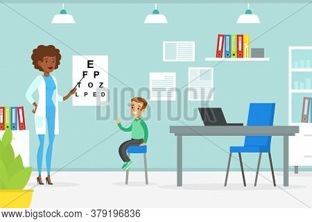 Optometrist Checking Boy Eyesight With Test Chart, Doctor Woman Doing Medical Examination Of Kid, Me