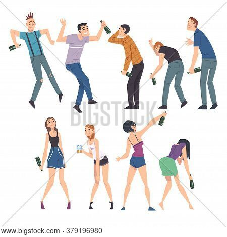 Drunk People Set, Men And Women With Alcohol Drinks In Their Hands, Drunken Man Walking Tipsy Screwe