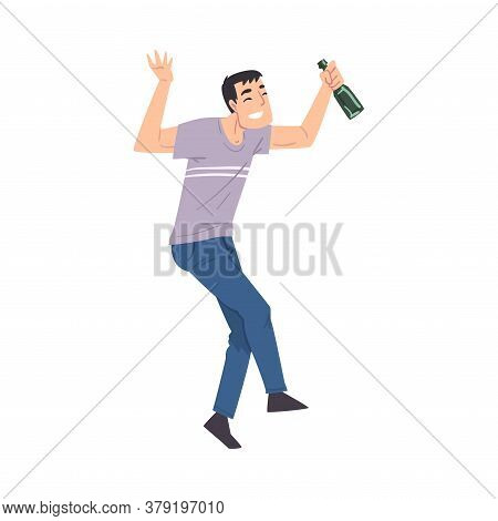 Drunk Man With Alcohol Drink Bottle In His Hands, Drunkenness, Bad Habit Concept Cartoon Style Vecto
