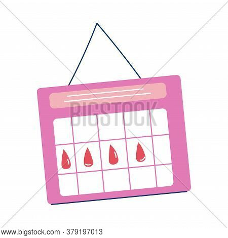 Calendar With Marks For Womans Menstruation Period Dates