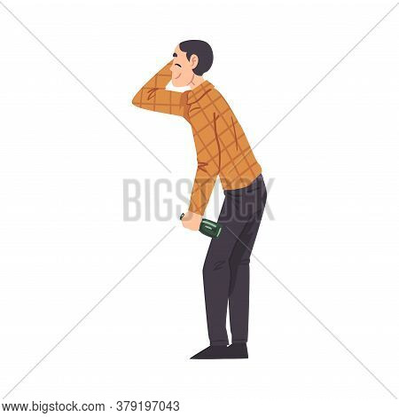 Cheerful Drunk Man With Alcohol Drink Bottle In His Hands, Drunkenness, Bad Habit Concept Cartoon St