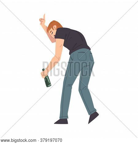Back View Of Man With Alcohol Drink Bottle In His Hands, Drunkenness, Bad Habit Concept Cartoon Styl