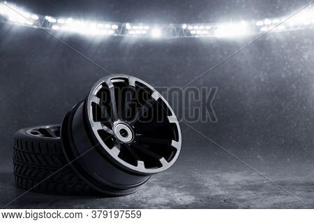 Car Rim On Race Track At Night