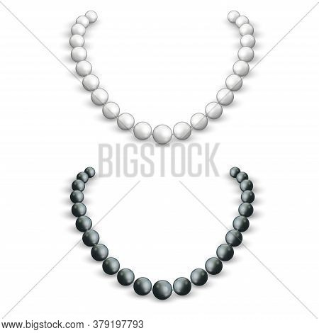 Necklace Of White And Black Pearls On A Female Neck, 3d Vector Realistic Mockup Of A Jewel, Female A