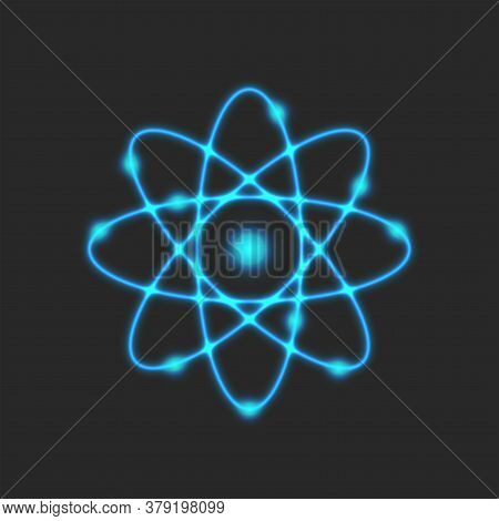 Planetary Model Of The Atom, Rutherford Is Atomic Structure Model Physical Symbol Of Glowing Neon Bl