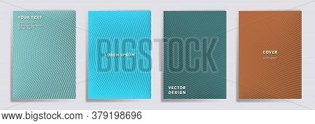 Semicircle Lines Halftone Grid Covers Vector Set. Tech Brochure Title Page Layouts. Banners, Posters