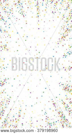 Festive Bold Confetti. Celebration Stars. Childish Bright Stars On White Background. Fascinating Fes