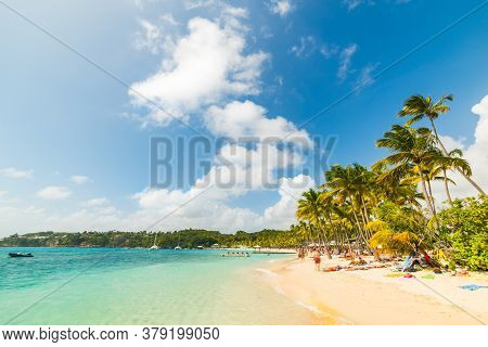 Clouds Over La Caravelle Beach In Guadeloupe, French West Indies. Lesser Antilles, Caribbean Sea