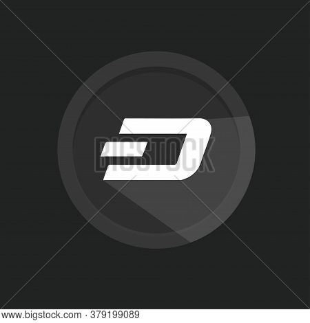 Dash Open-source Crypto Currency Coin On Blockchain Technology. Dash Vector Icon For Print And Web.