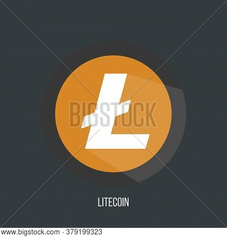 Litecoin Ltc Open-source Crypto Currency Coin On Blockchain Technology. Litecoin Vector, Icon, Sign