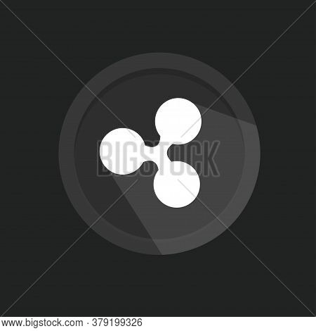 Ripple Icon For Internet Money. Ripple Cryptocurrency Coin Icon Isolated On Black Background. Altcoi