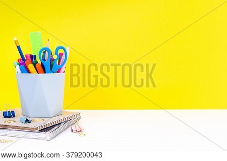 The Concept Of Back To School, Education - Notebooks, Stationery And Organizer With Multi-colored Pe