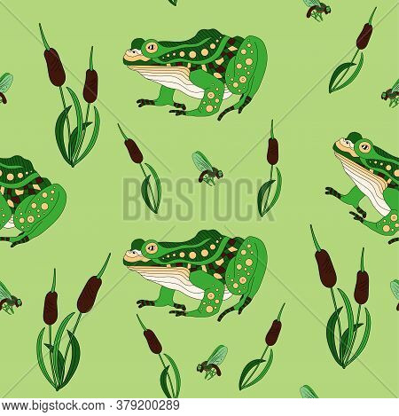 Seamless Pattern Frog In The Reeds Catches A Fly. Cute Frog With Green Background, For Fabric Print,
