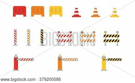 Set Of Road Barriers. Warning Roadblock Border. Striped Street Signs. Attention Construction Fence D