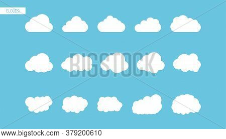 Set Of Clouds In Flat Design. Isolated Bubble Cloud Icons. Fluffy Cloudy Sky. Modern Simple Style Of
