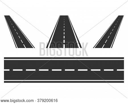 Set Of Road Way From Top View. Isolated Asphalt Highway. Straight And Diagonal Route Perspective. Sp