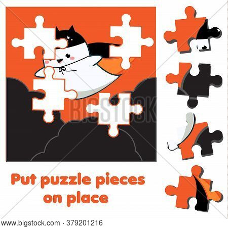 Flying Ghost. Puzzle For Toddlers. Match Pieces And Complete The Picture. Halloween Game For Childre