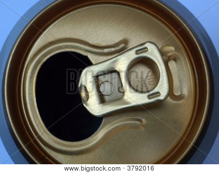 Top of an opened aluminium drinks can. poster