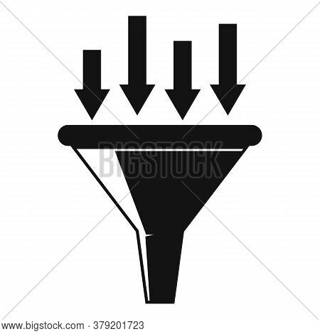 Conversion Rate Funnel Icon. Simple Illustration Of Conversion Rate Funnel Vector Icon For Web Desig