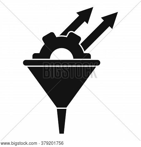 Conversion Rate Gear Funnel Icon. Simple Illustration Of Conversion Rate Gear Funnel Vector Icon For