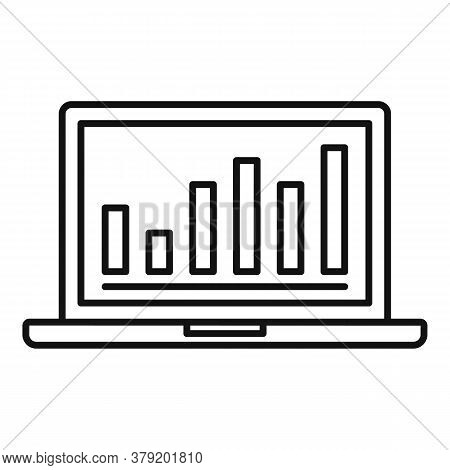 Laptop Conversion Rate Graph Icon. Outline Laptop Conversion Rate Graph Vector Icon For Web Design I