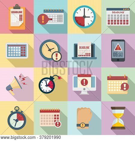 Deadline Icons Set. Flat Set Of Deadline Vector Icons For Web Design