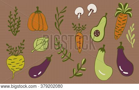 Vector Doodle Collection Of Vegetables. Hand Drawn Healthy Farm Food Isolated On White Background. O