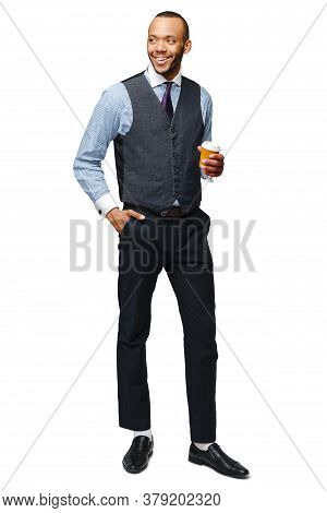 Full Lenght Photo Of Young African American Businessman Holding Coffee To Go