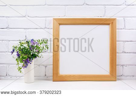 Square Wooden Picture Frame Mockup With Bird Vetch