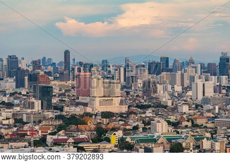 Aerial View Of Phaya Thai District, Bangkok Downtown Skyline. Thailand. Financial District And Busin