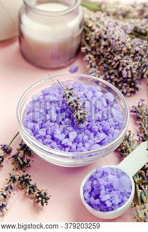 Lavender Violet Sea Salt With Lavender Flowers, Candle. Lavender Bath Products Aromatherapy Treatmen