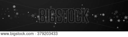 Sparse Snowfall Christmas Background. Subtle Flying Snow Flakes And Stars On Black Background. Breat