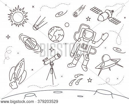 Cosmonaut In Spacesuit Concept Contour Linear Style Include Of Star, Planet And Satellite. Vector Il