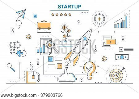 Startup Business Concept Contour Linear Style Include Of Target, Chart And Rocket. Vector Illustrati